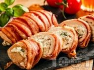 Пиле увито в бекон с плънка от синьо сирене и босилек